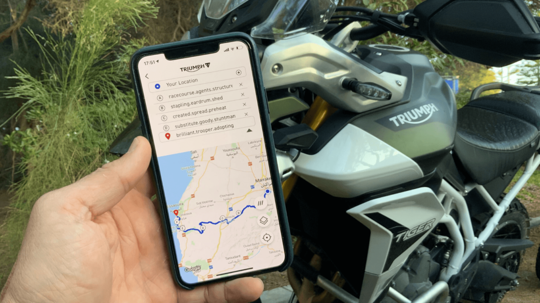 Motorcyclist using Triumph app with a what3words address