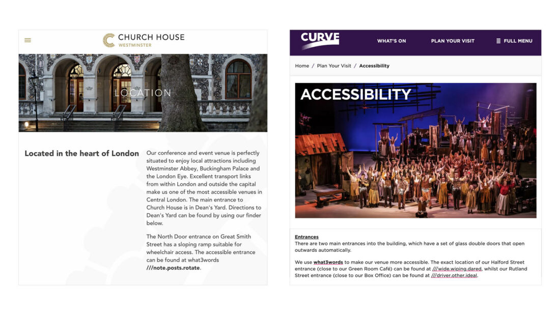 Examples of venues featuring accessibility pages featuring 3 word addresses