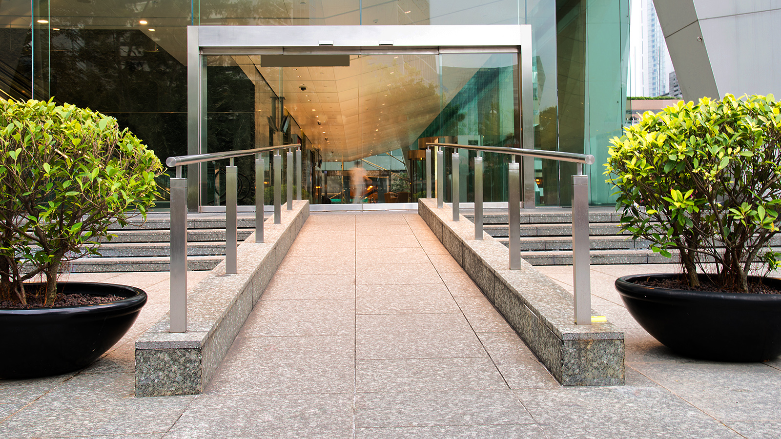 Office entrance with accessibility ramp