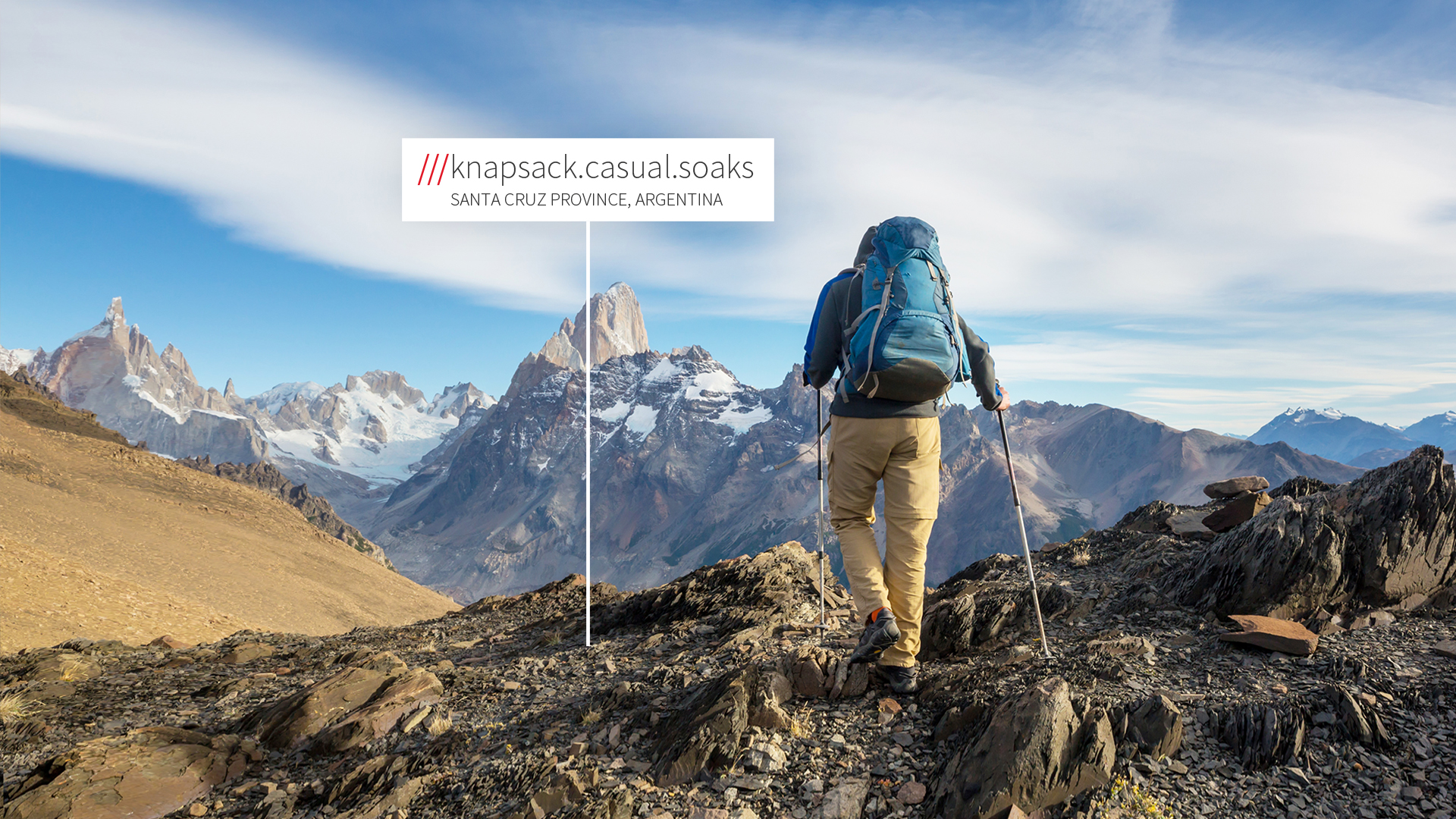 Hiker on mountain at what3words address knapsack.casual.soaks