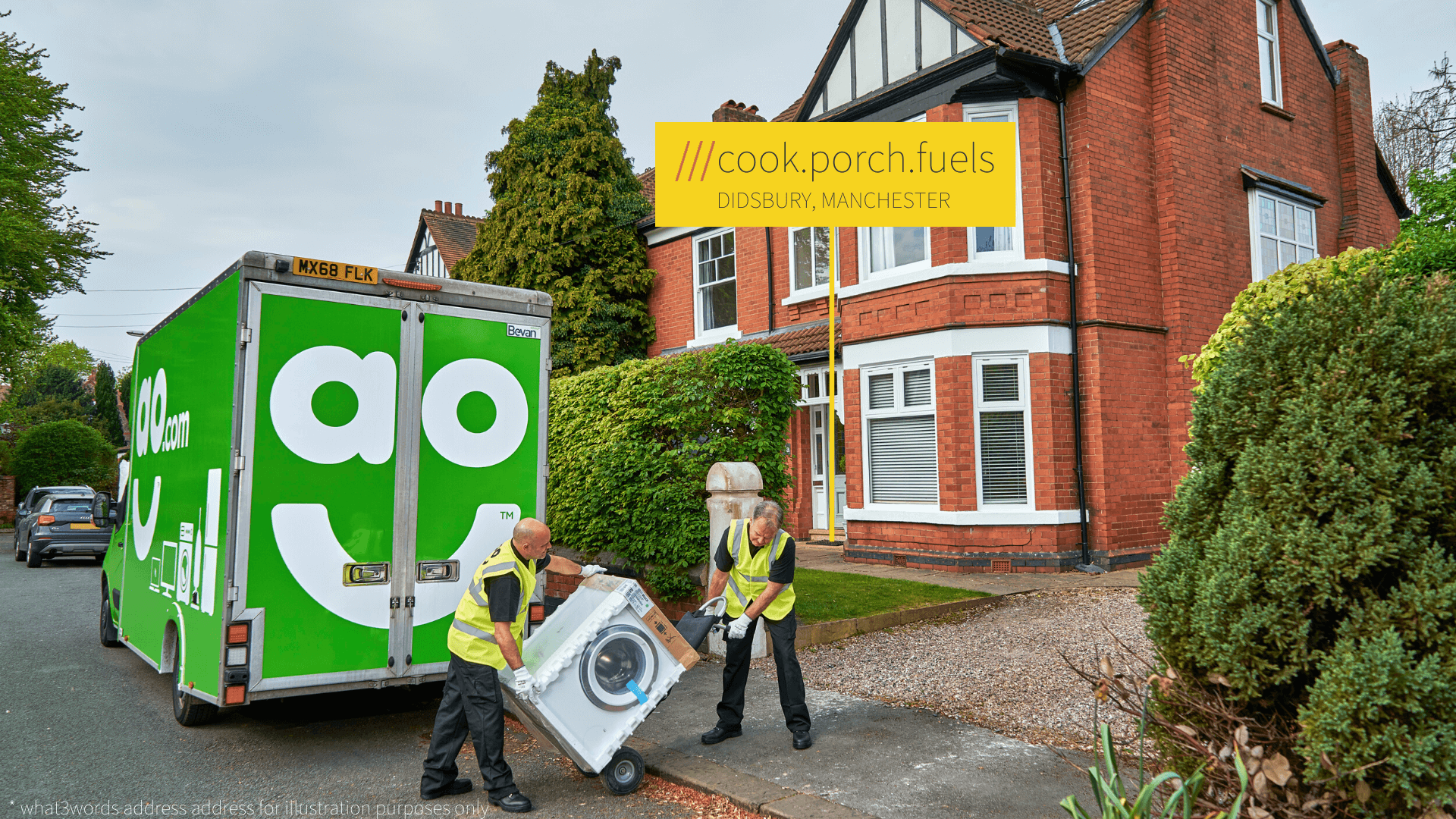 AO delivery van outside home at what3words address cook.porch.fuels
