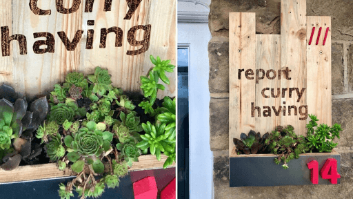 Personalised what3words wooden planter
