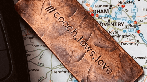 Personalised what3words copper keychain