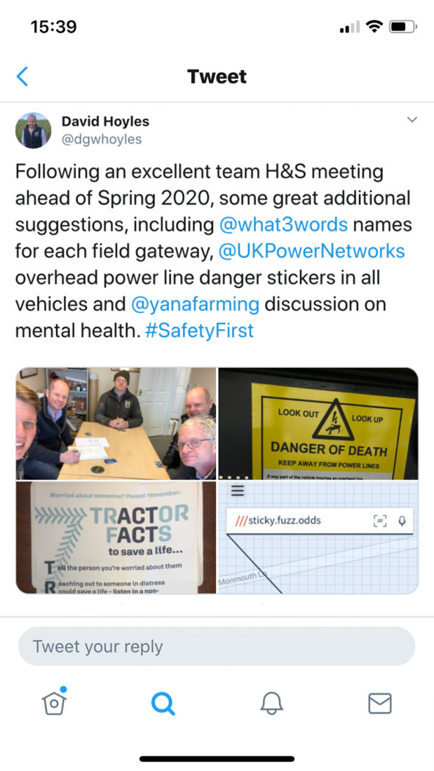 David Hoyles tweet who is now using what3words in his business for locating field gateways
