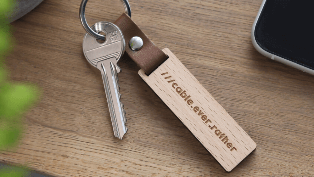 Personalised keyring gift with a what 3 words address imprinted on