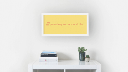 Personalised what3words yellow wall print