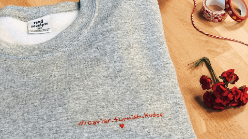 Personalised sweater with what3words address