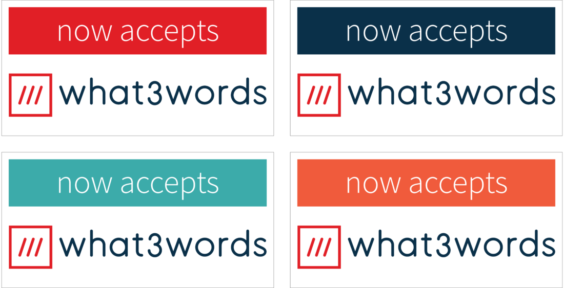 what3words logo announcement badge examples