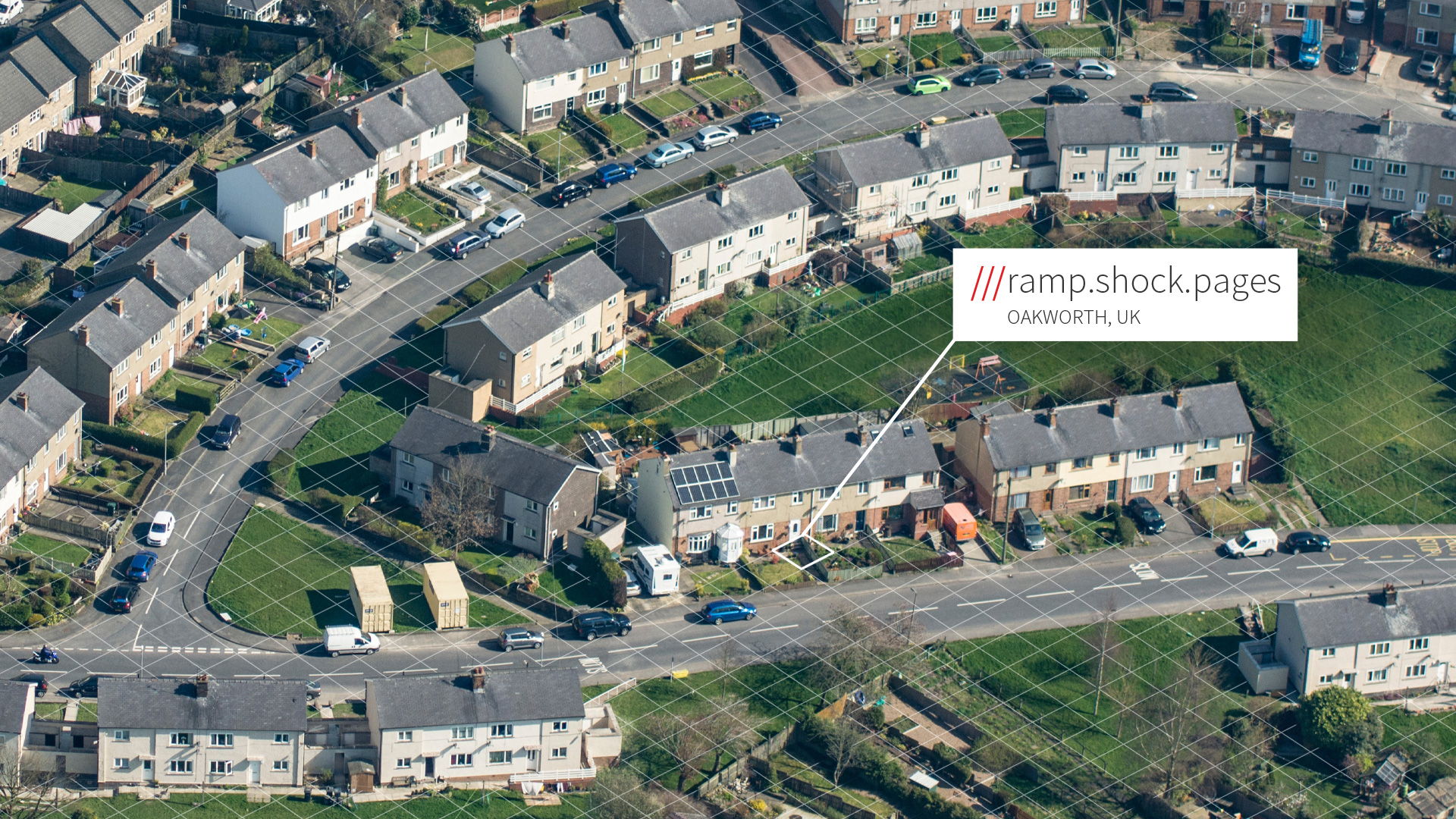 what3words address outside front door of a large housing estate