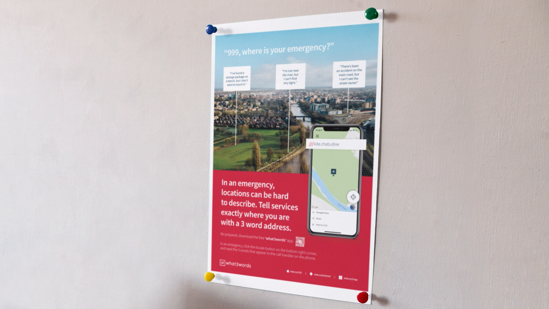 what3words safety poster on wall