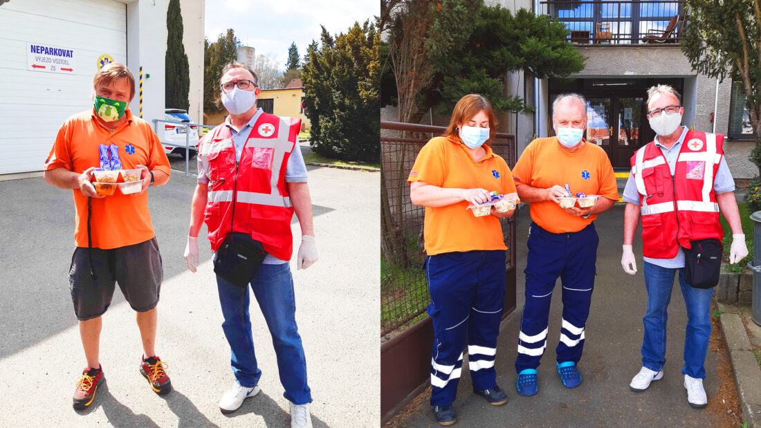 Czech Red Cross team with wearing PPE equipment