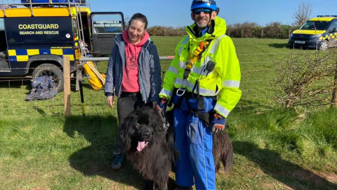owner and dog rescued by animal rescue team using what3words