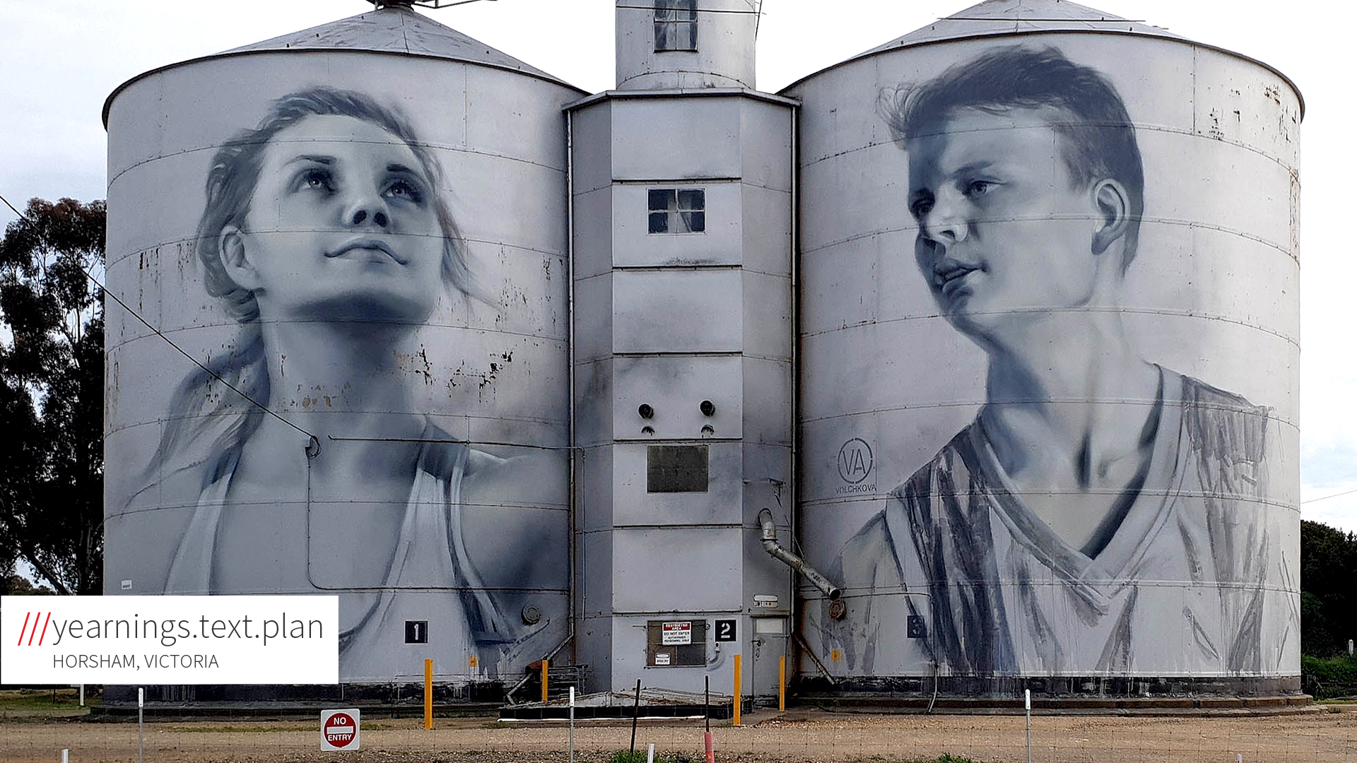 silo with imagery on at yearnings.text.plan