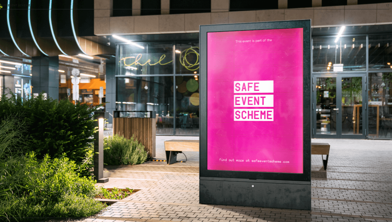 safe event scheme logo on poster