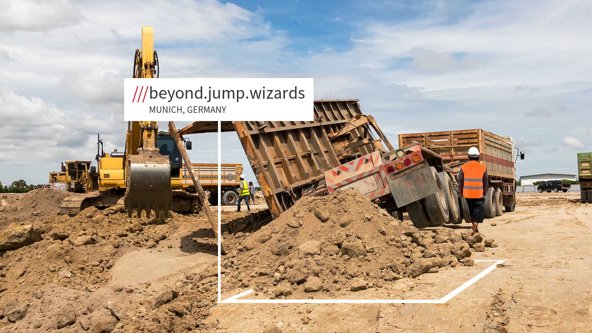 Construction site at what3words address beyond.jump.wizard