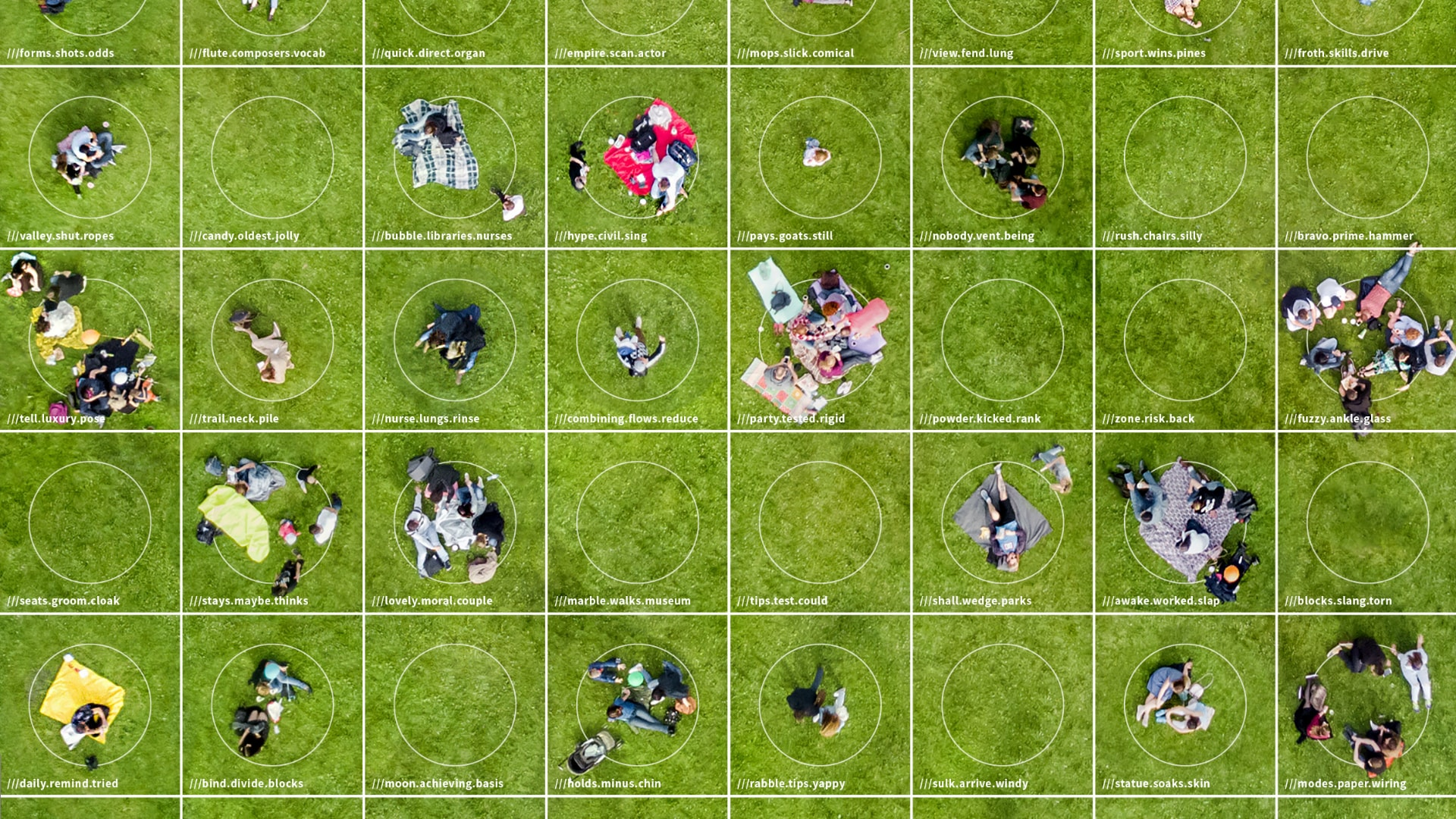 aerial view of people picnicing with grid showing what3words addresses