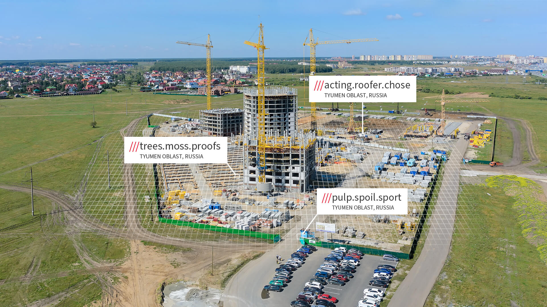 what3words addresses across construction site