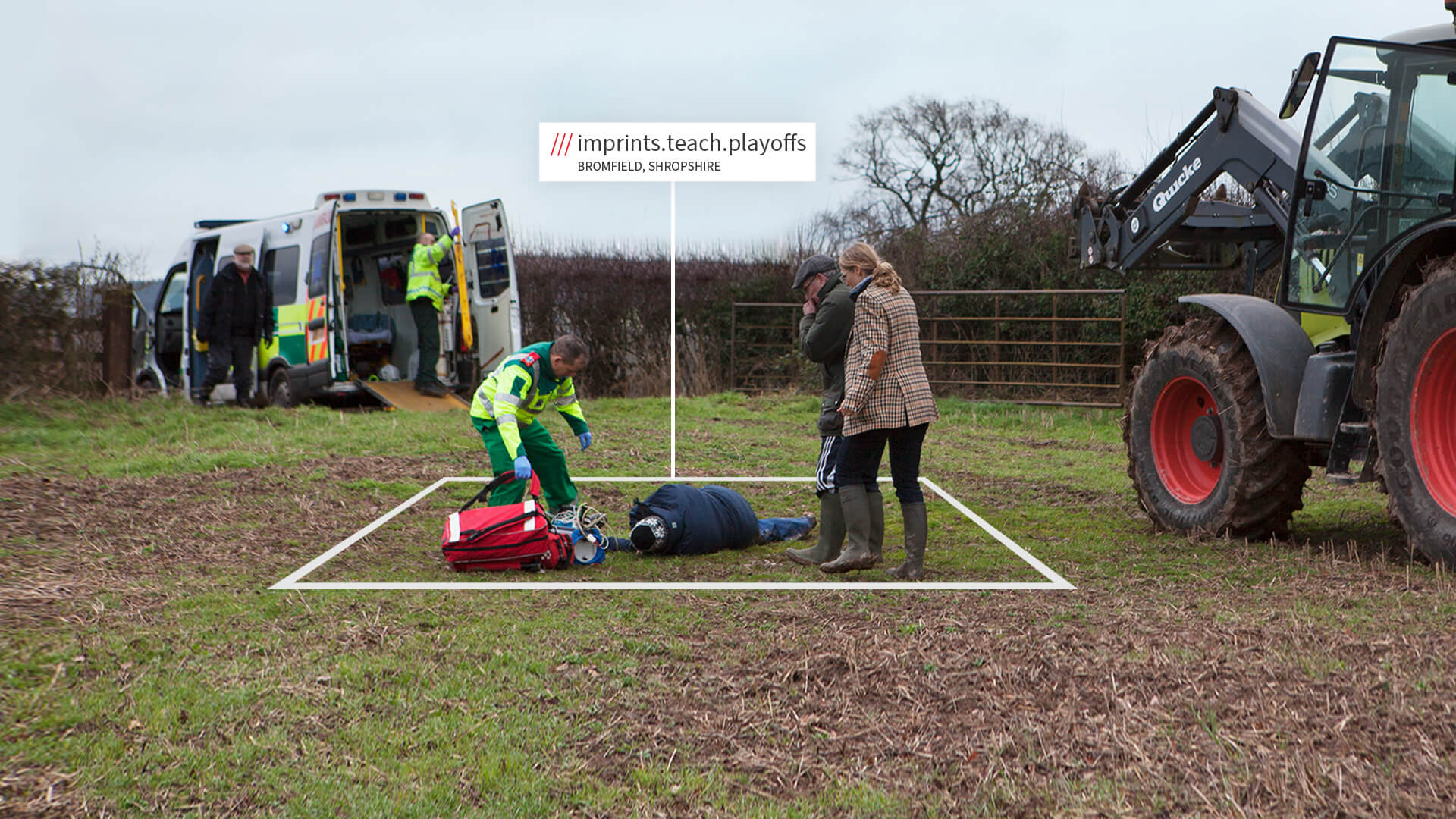 Ambulance in field with what3words address - emergency services