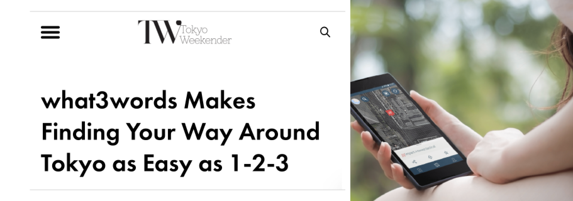 Tokyo weekender shares article 'what3words Makes Finding Your Way Around Tokyo as Easy as 1-2-3