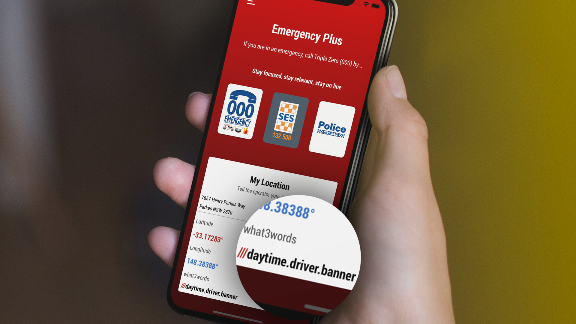 Emergency plus app featuring what3words address on phone