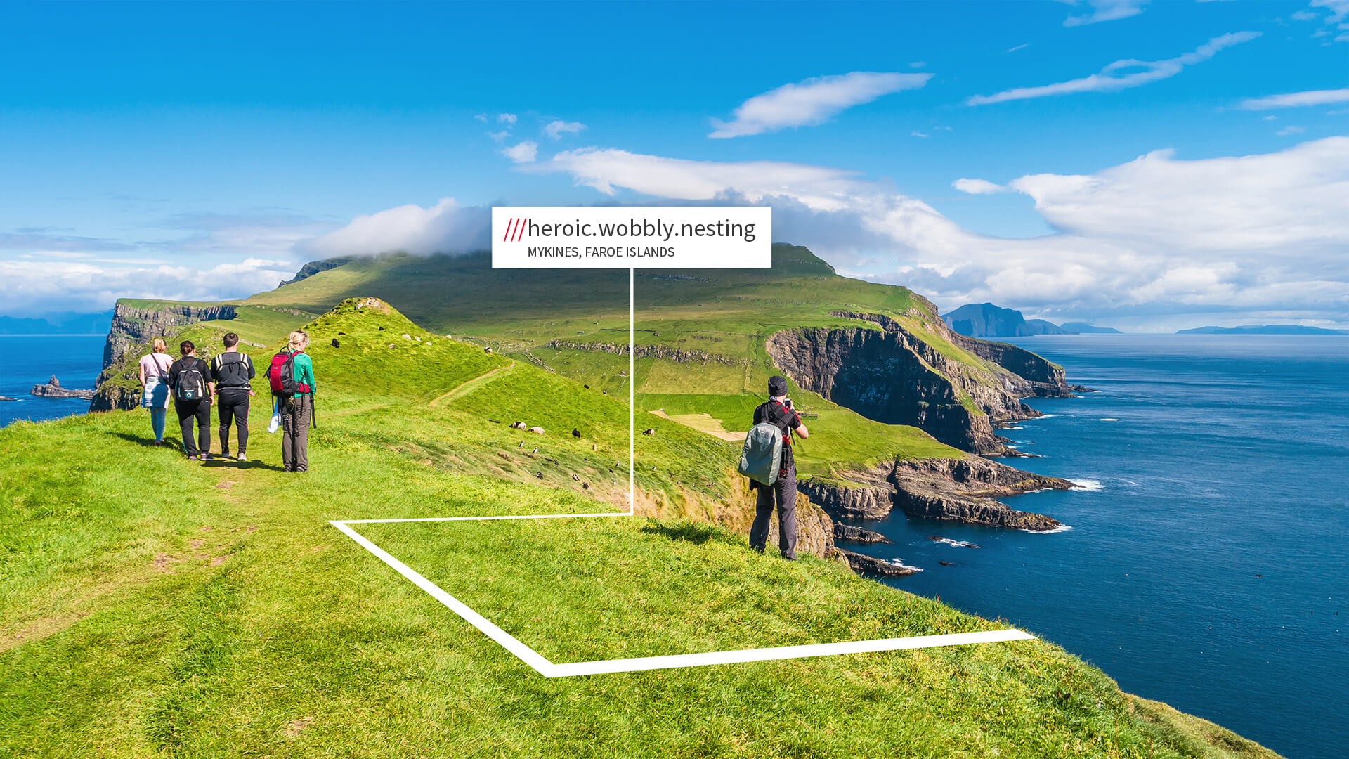 Faroe Island coastal view with what3words address