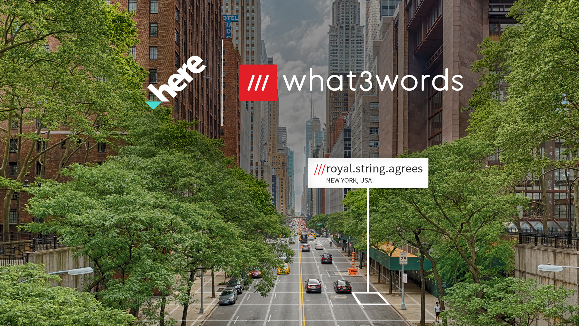 what3words address on busy New York street