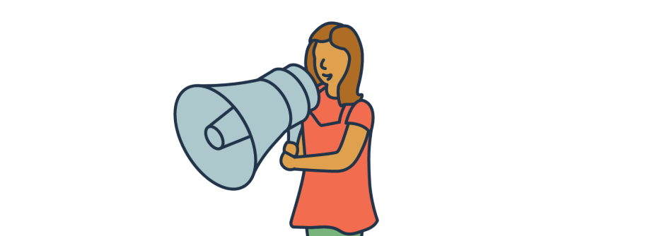 Illustration of person with megaphone