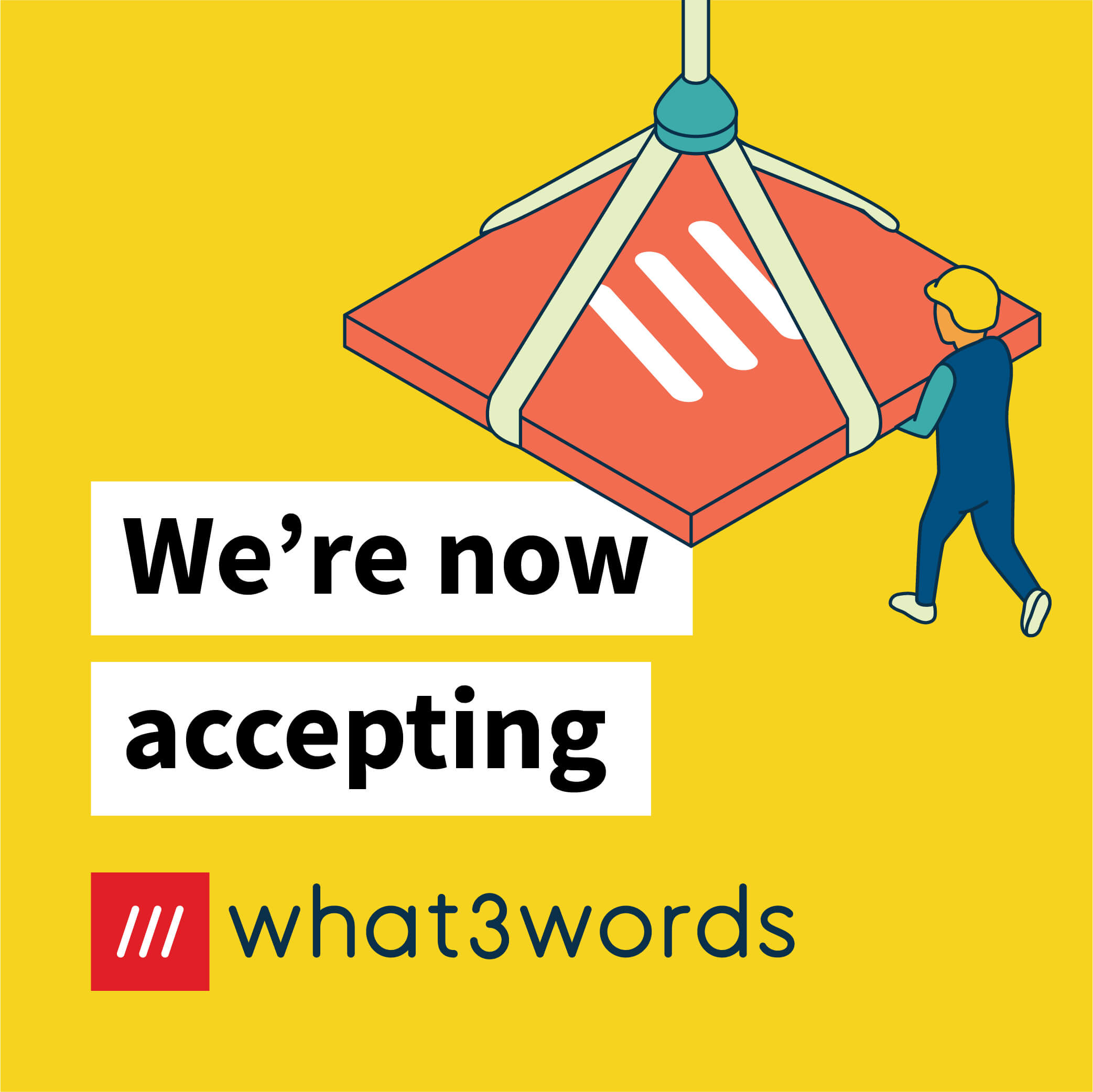 Now accepting what3words social post for GIS and infrastructure - yellow