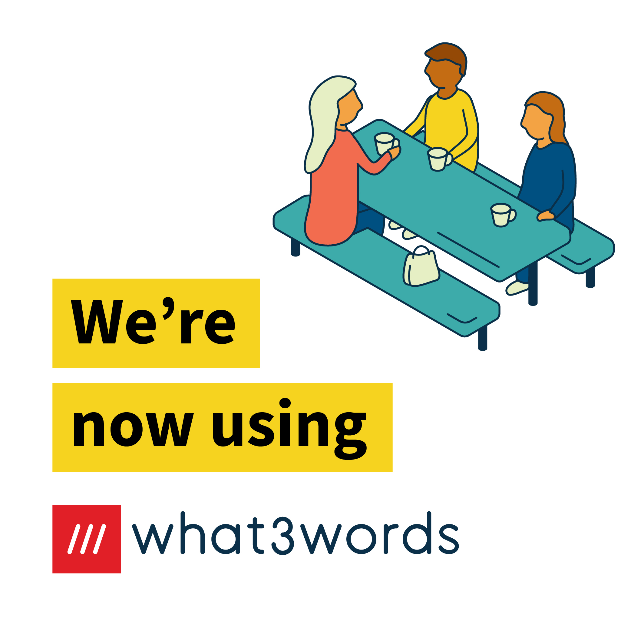 Now accepting what3words social post for communities - white