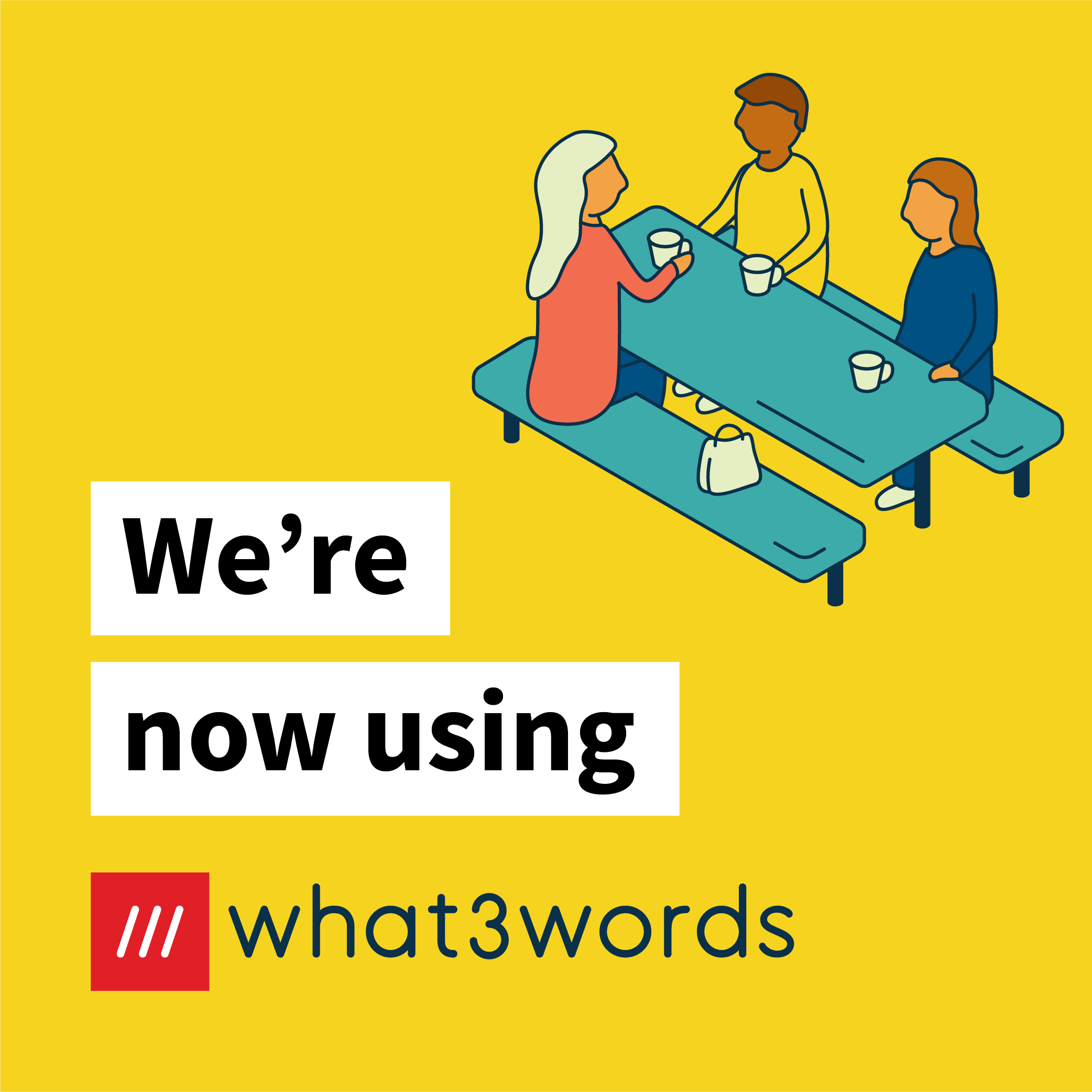 Now accepting what3words social post for communities - yellow