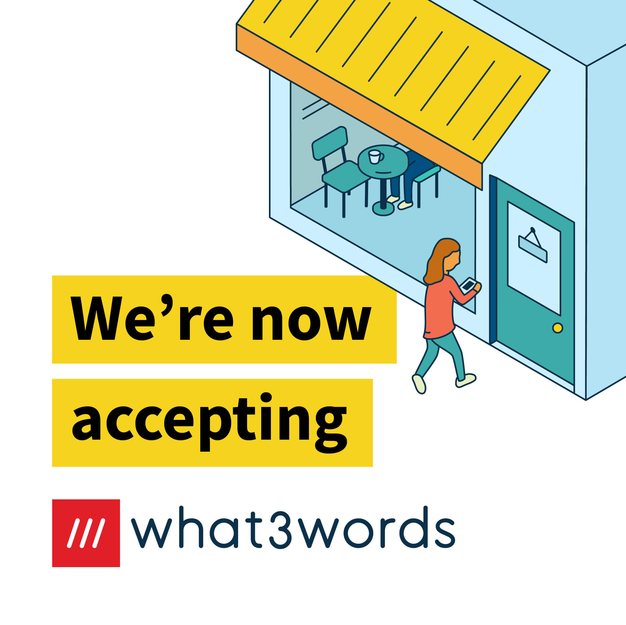 Now accepting what3words social post for local businesses - white