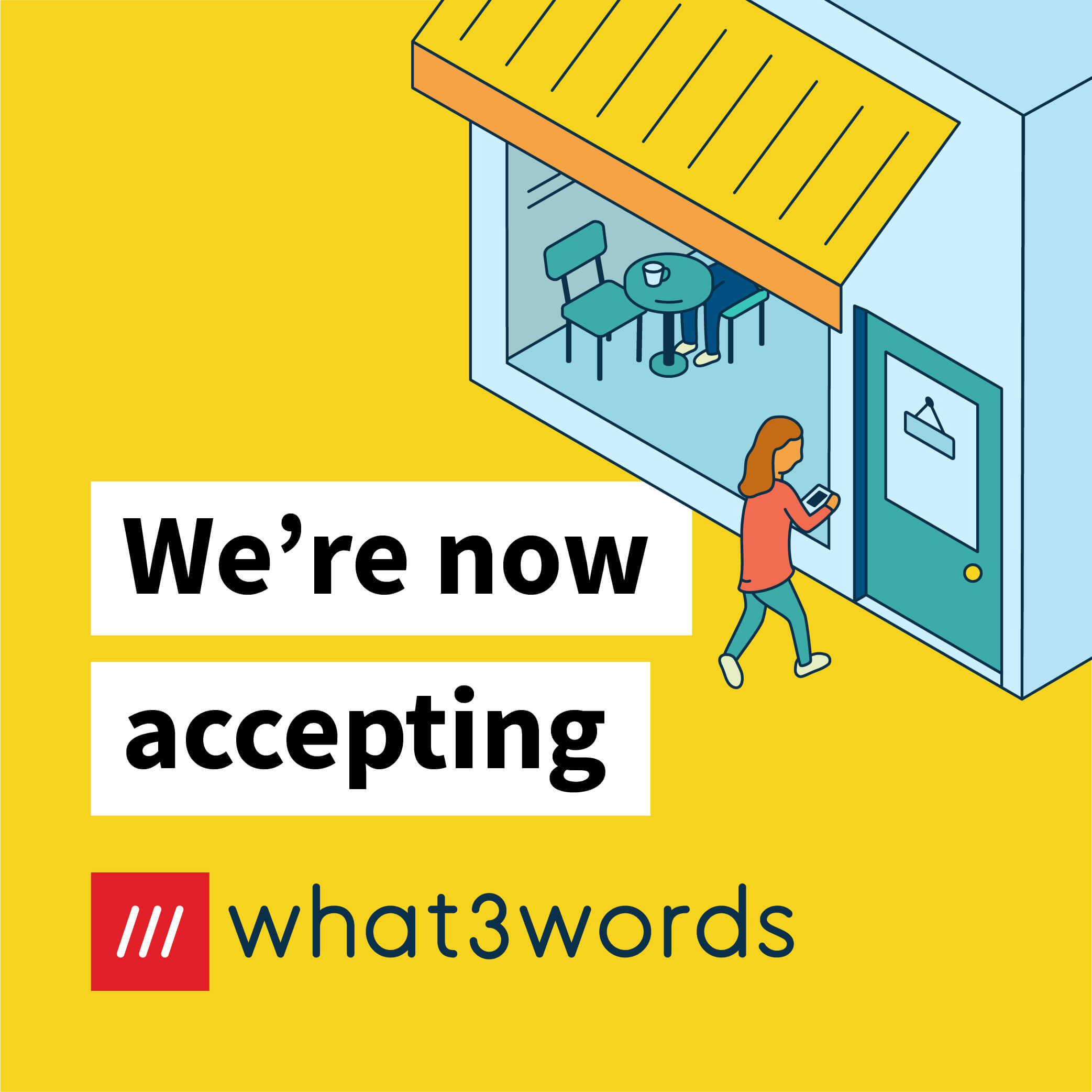 Now accepting what3words social post for local businesses - yellow