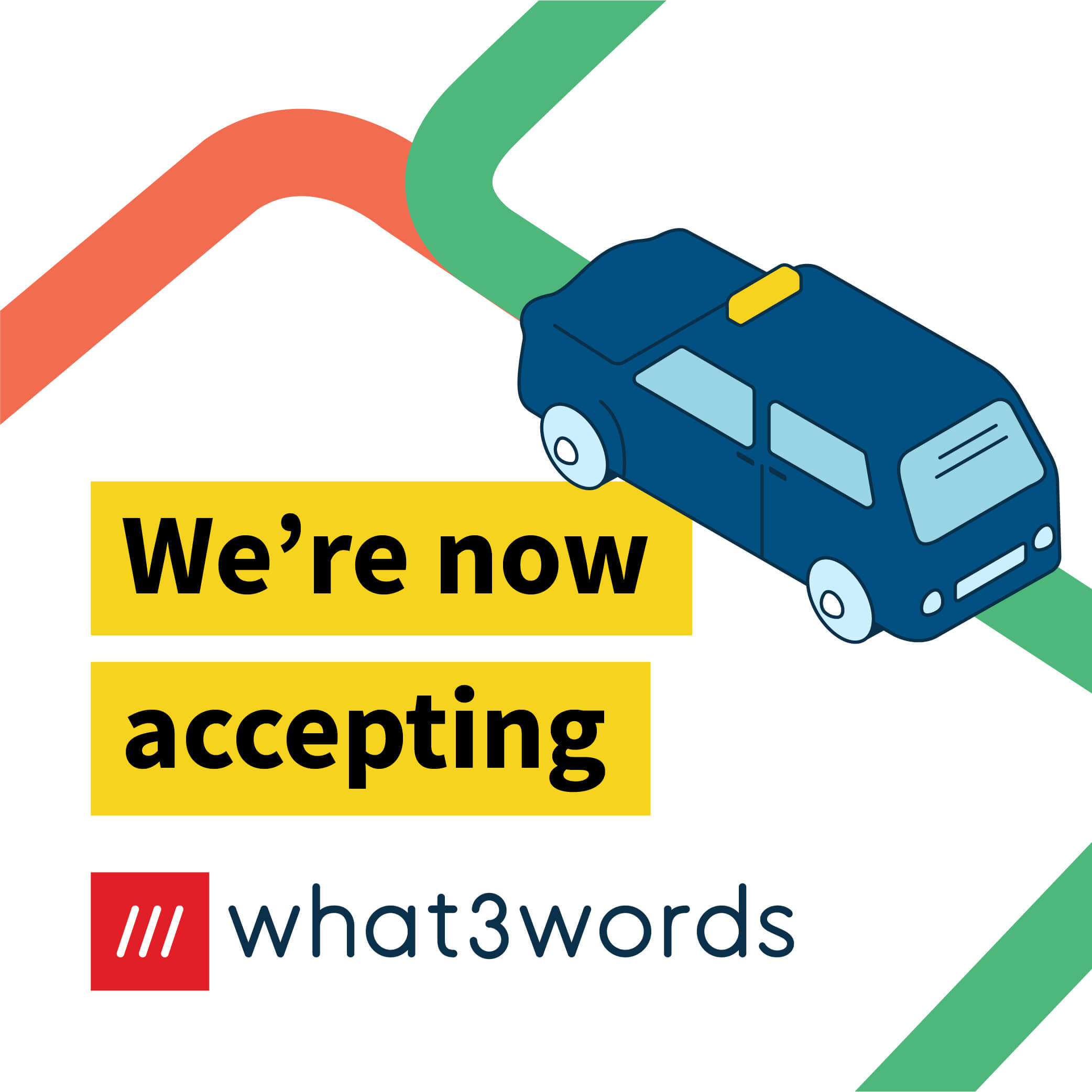 Now accepting what3words social post for navigation - white