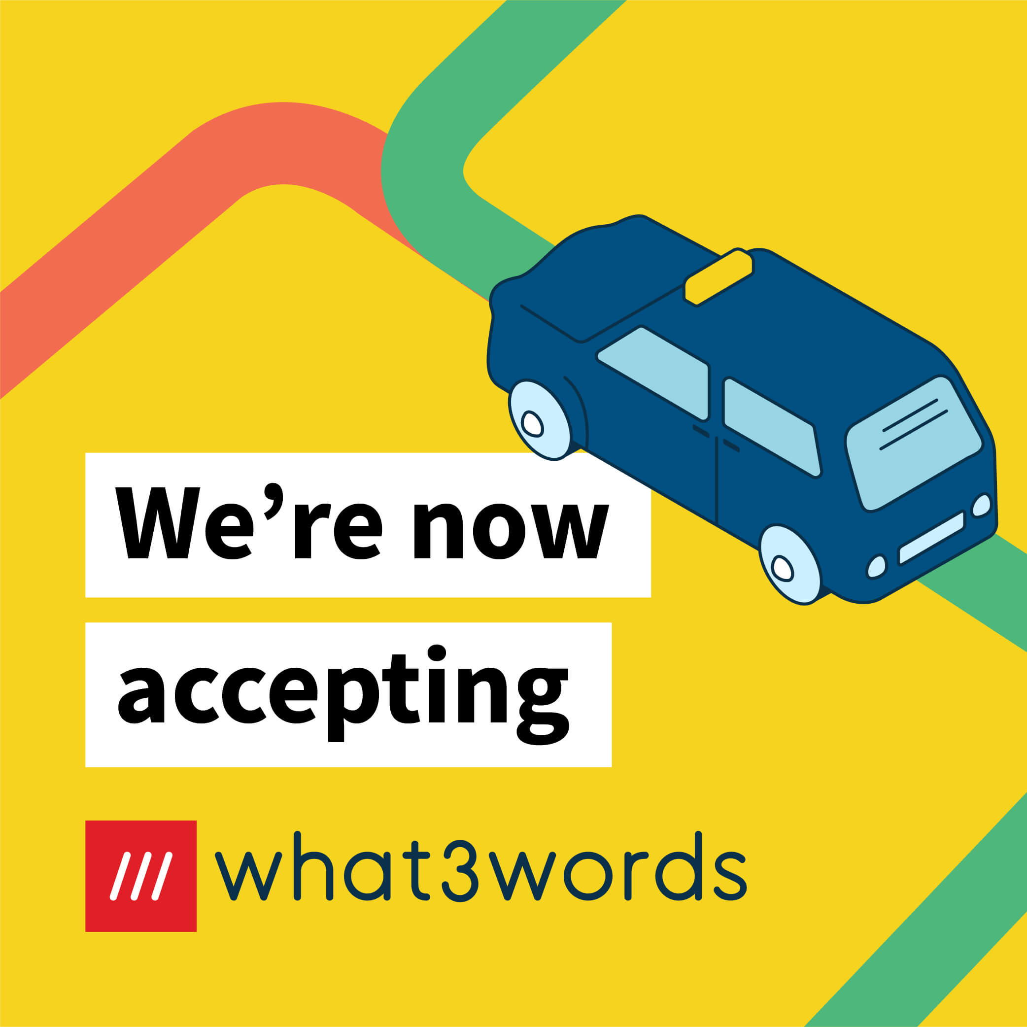 Now accepting what3words social post for navigation - yellow