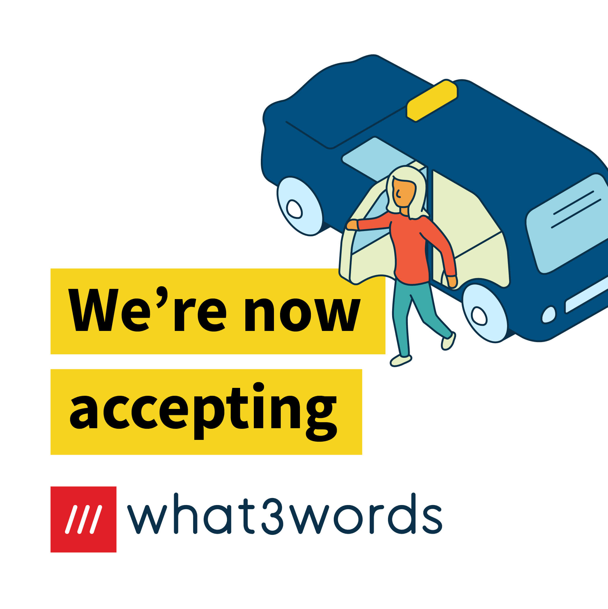 Now accepting what3words social post for ride hailing - white