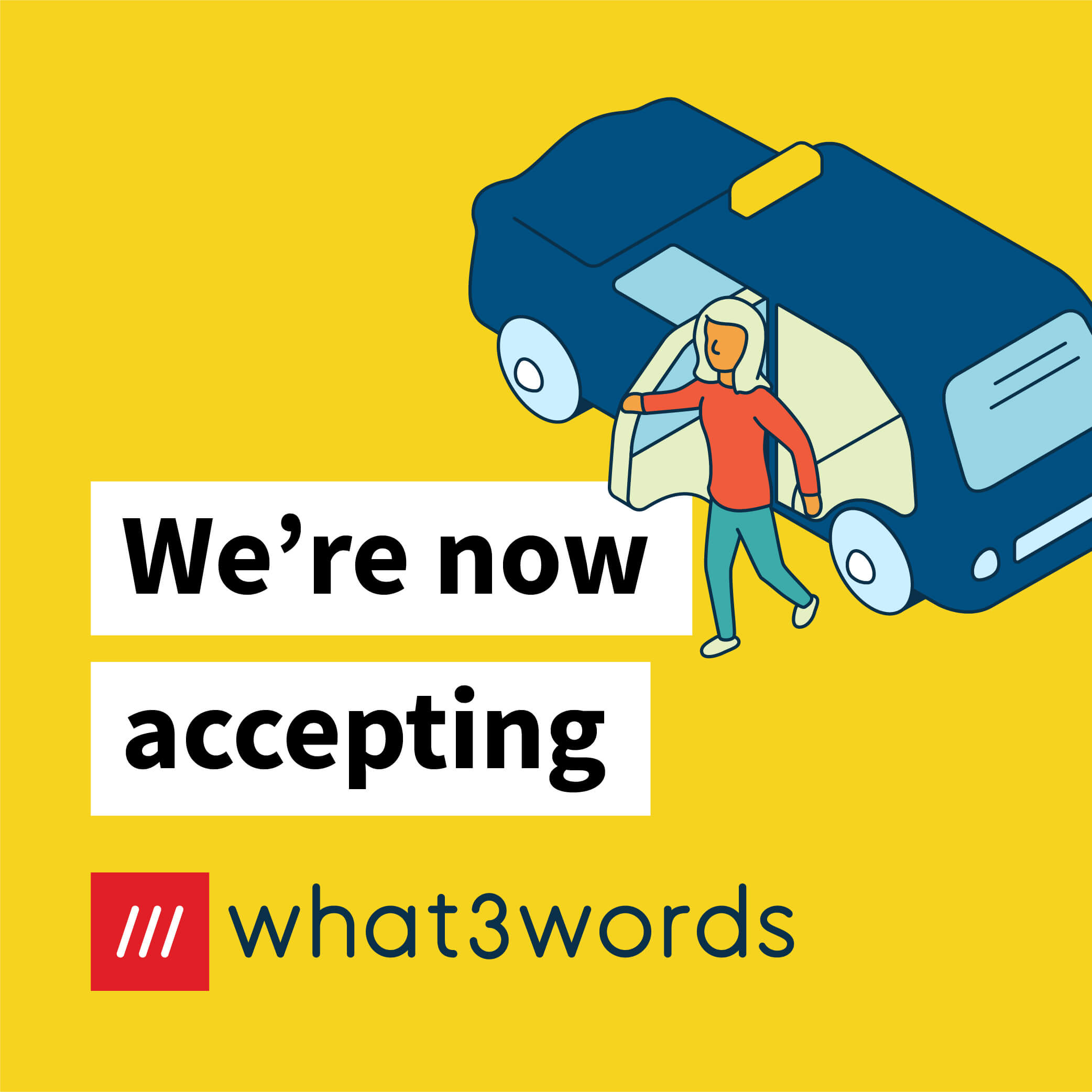 Now accepting what3words social post for ride hailing - yellow