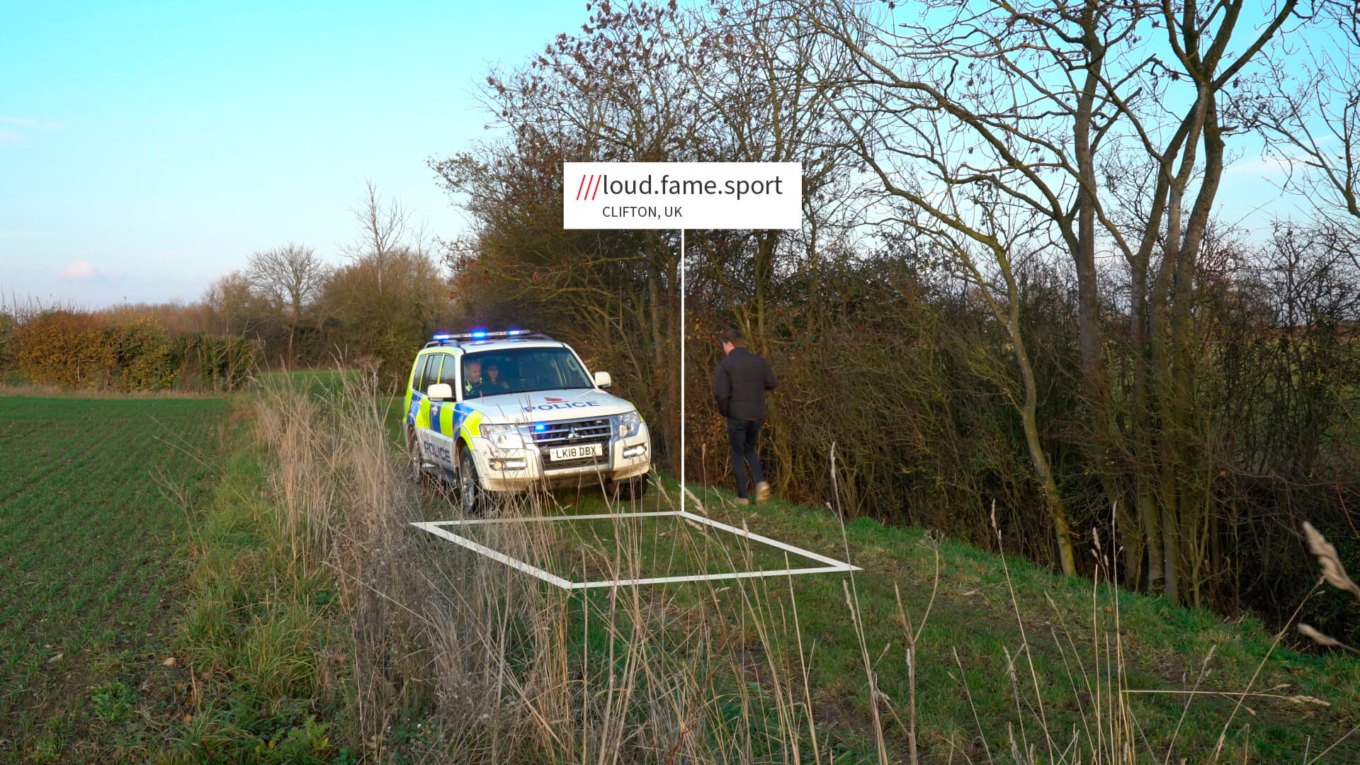 Police in countryside with what3words address