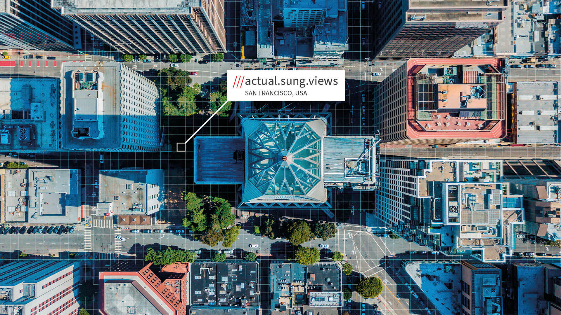 San Francisco aerial view with what3words address