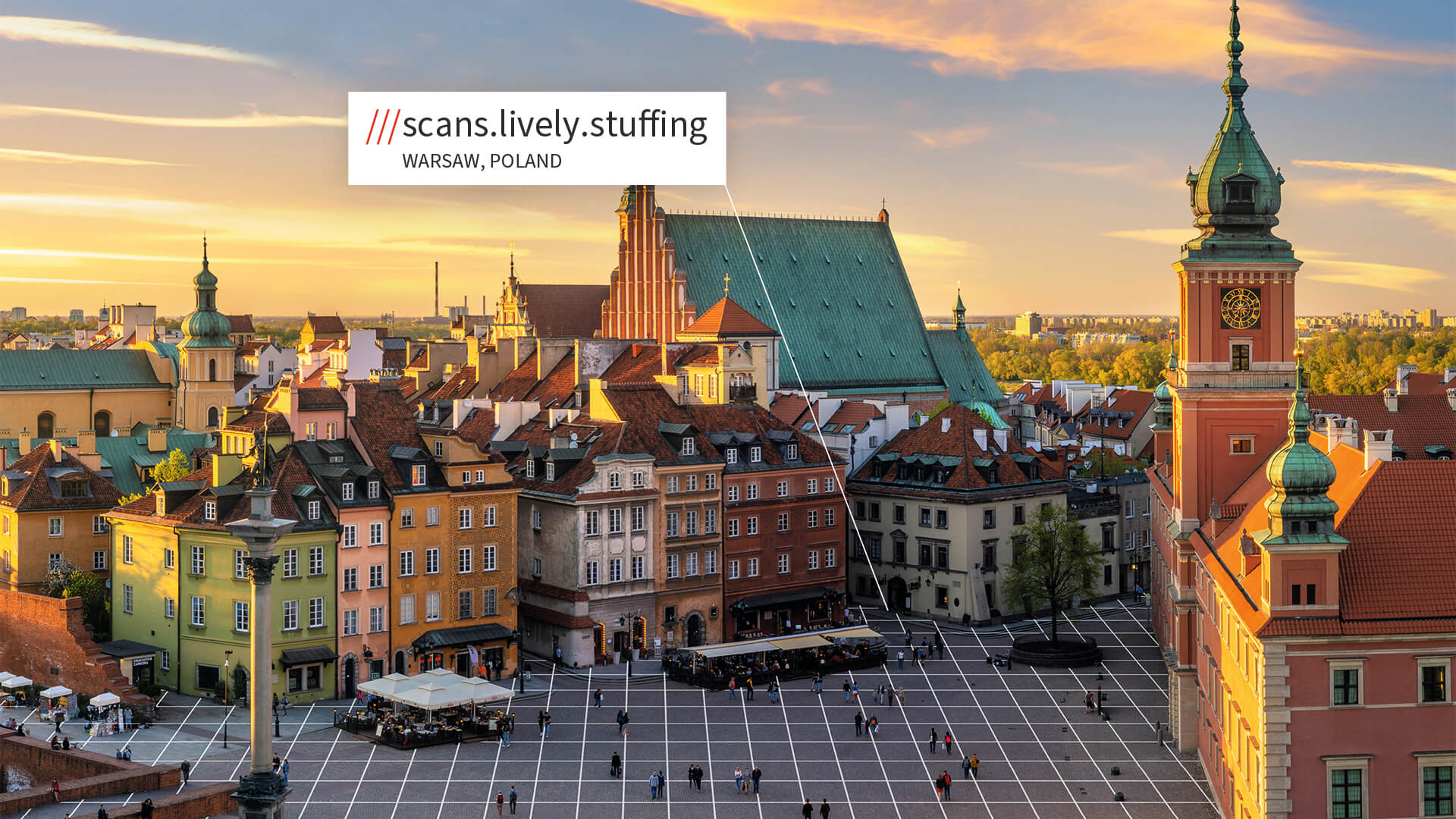Warsaw square with what3words address