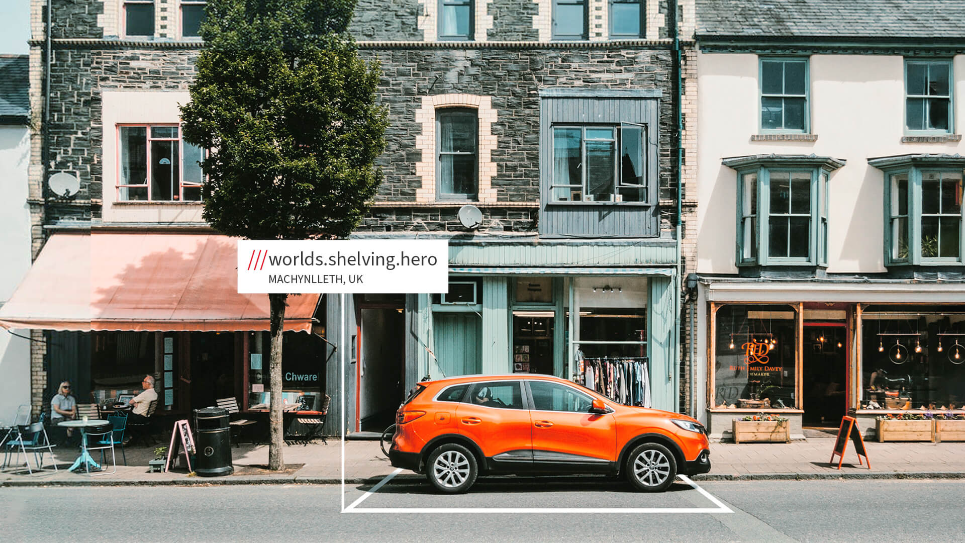 Car with what3words address - parked in shopping street