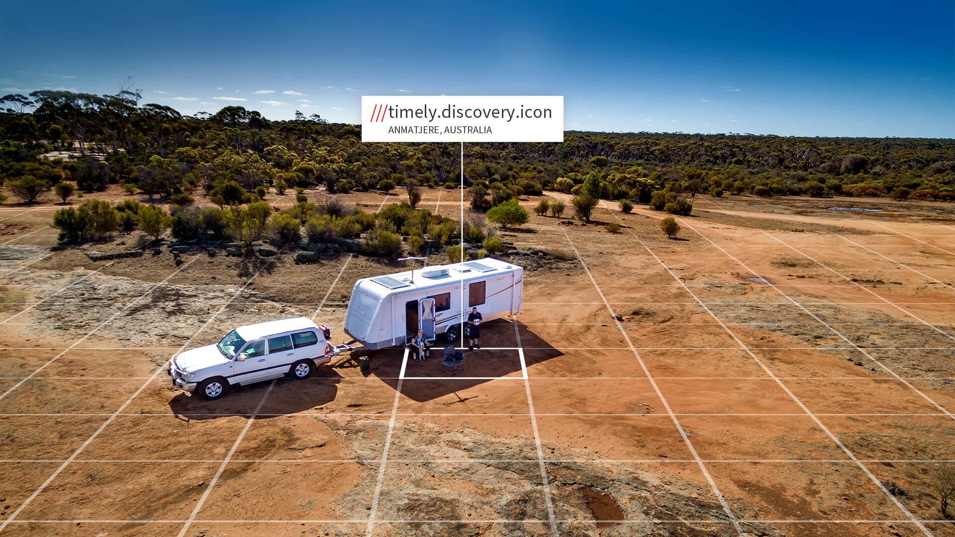 Caravan with what3words address in Australia