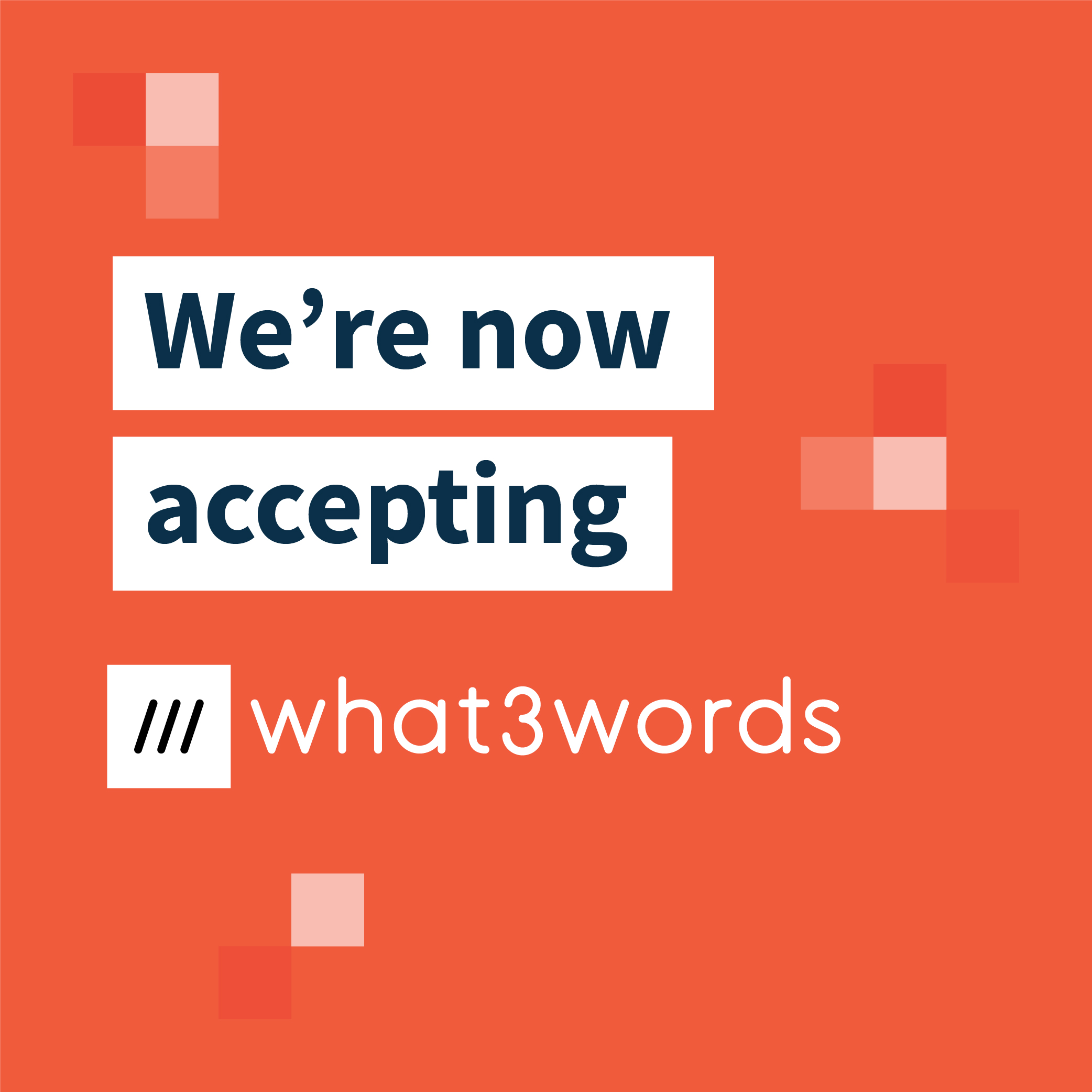 we're now accepting what 3 words badge with red background