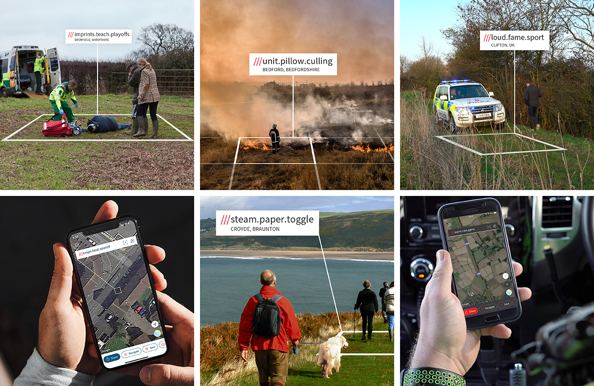 Selection of images of what3words being used in emergency situations