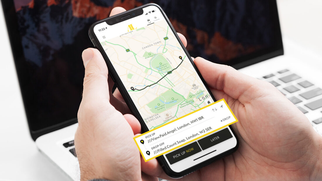 Addison Lee interface with what3words addresses in pick up and drop off locations