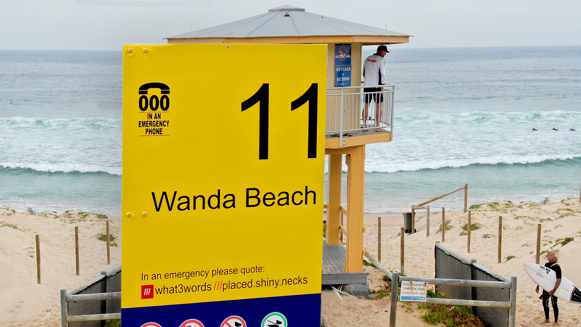 Wanda beach sign with what3words address in case of emergency