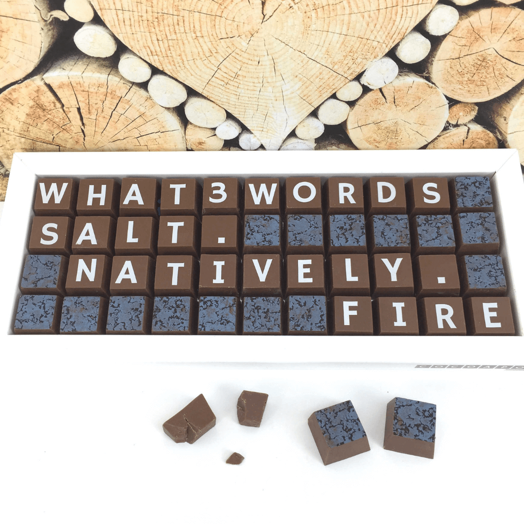 Cocoapod chocolate block message with what3words address