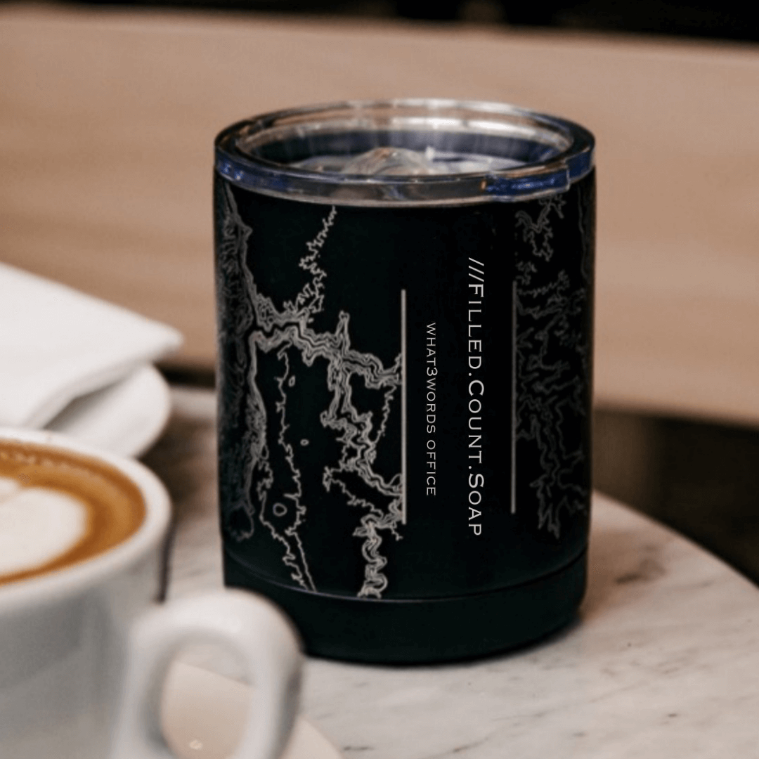 Jace Design eco-coffee cup with what3words address