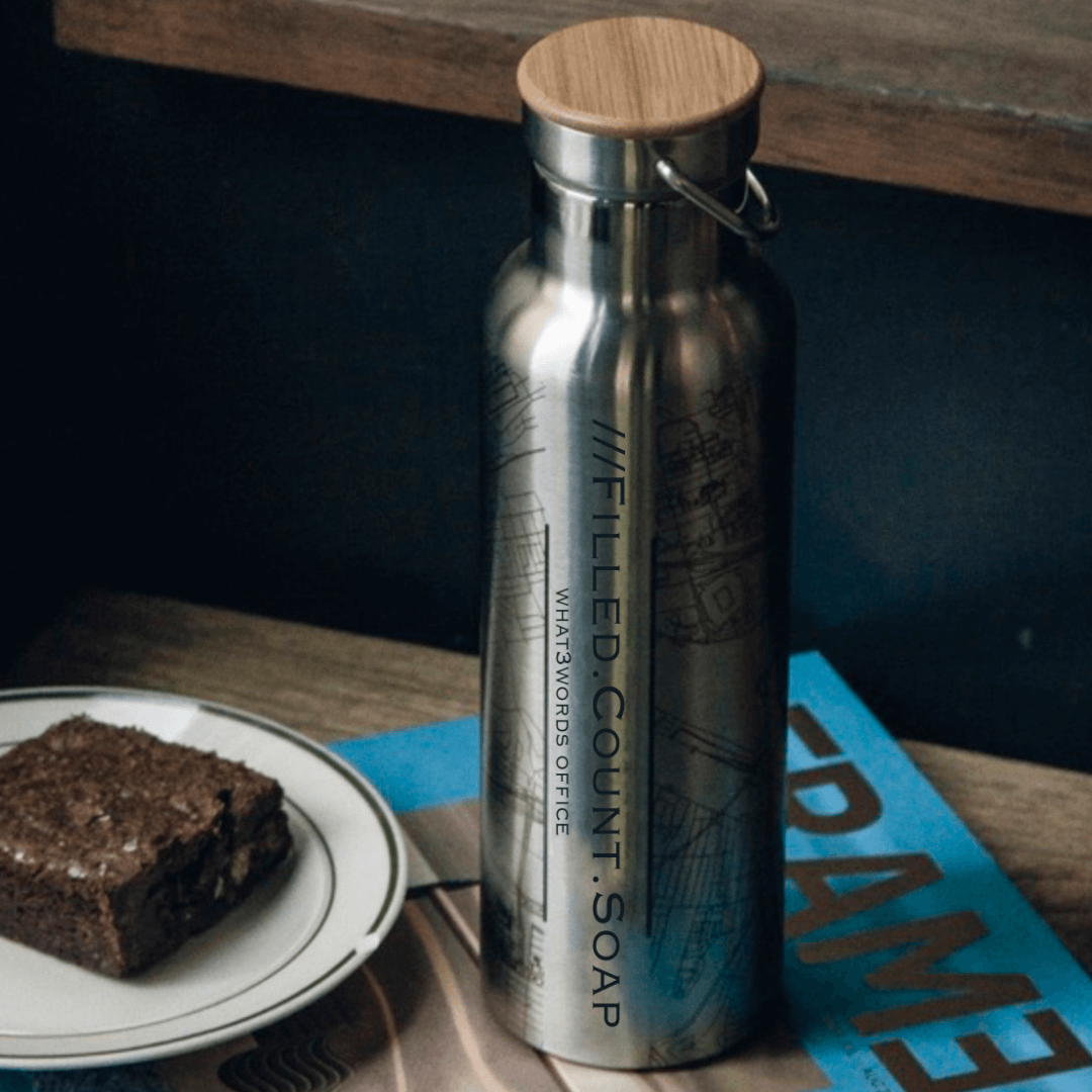 Jace Design water bottle with map and what3words address