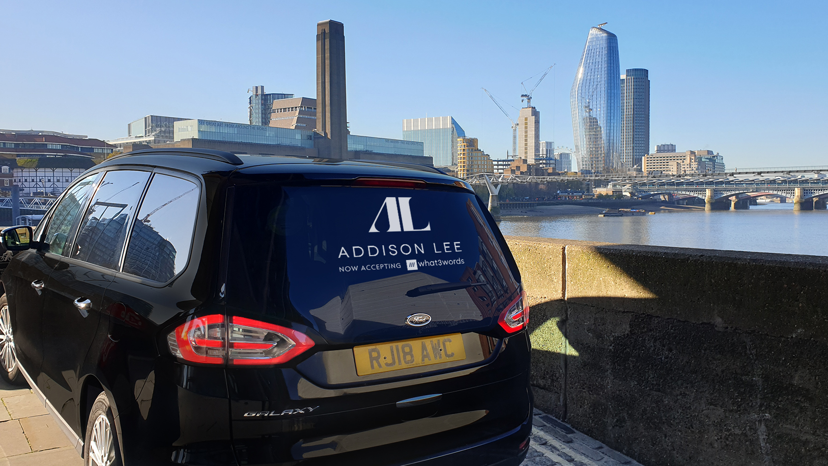 Addison Lee car with 'now accepting what3words' sticker