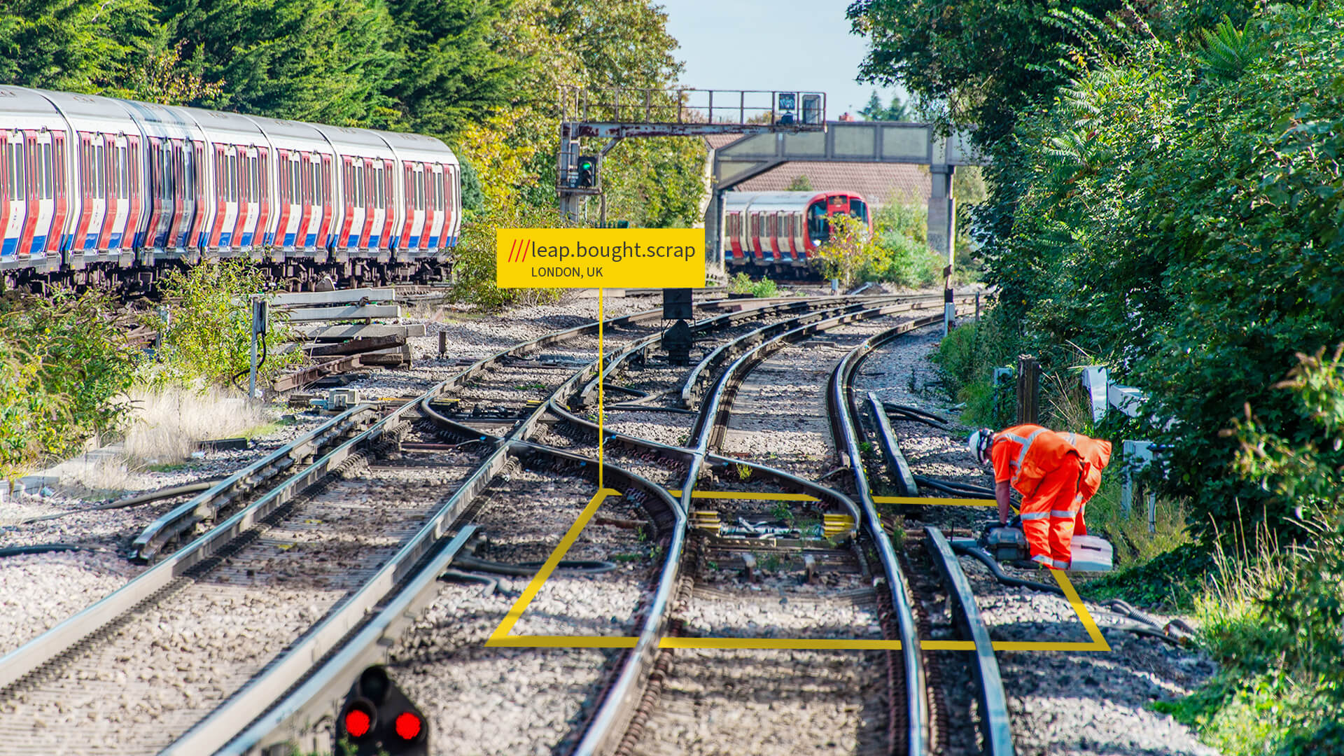 Railway maintenance person on tracks at what3words location